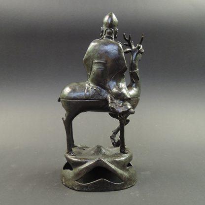 Ming bronze Shou Lao riding a deer censer | back | Bovens Amsterdam