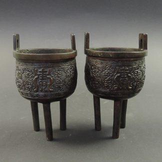 Ming bronze ding censers, pair | Bovens Amsterdam